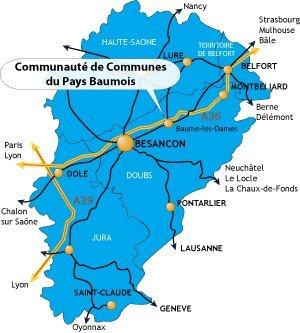 Carte de la Franche-Comté